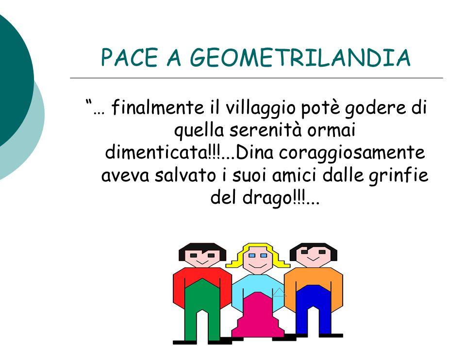"""PACE A GEOMETRILANDIA """"… finalmente il villaggio potè godere di quella serenità ormai dimenticata!!!...Dina coraggiosamente aveva salvato i suoi amici"""