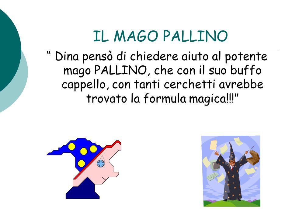 """IL MAGO PALLINO """" Dina pensò di chiedere aiuto al potente mago PALLINO, che con il suo buffo cappello, con tanti cerchetti avrebbe trovato la formula"""