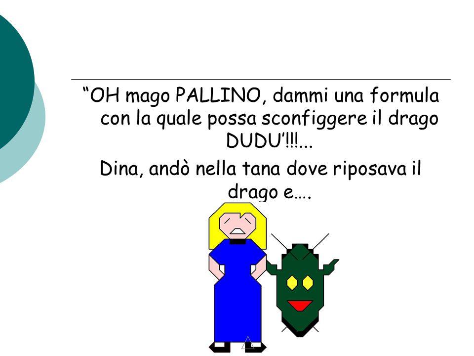 """""""OH mago PALLINO, dammi una formula con la quale possa sconfiggere il drago DUDU'!!!... Dina, andò nella tana dove riposava il drago e…."""