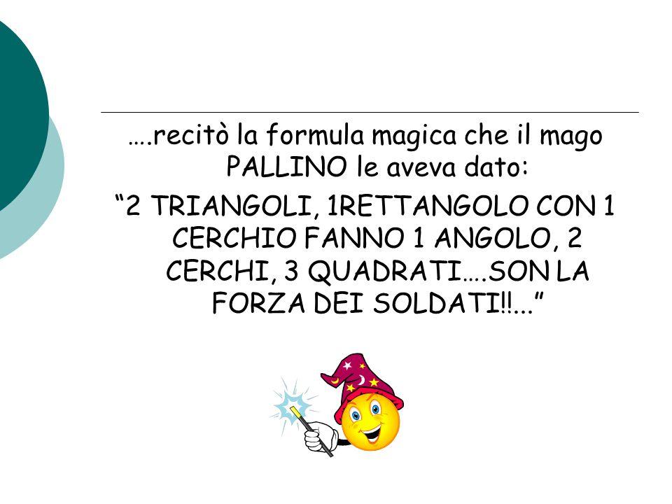 """….recitò la formula magica che il mago PALLINO le aveva dato: """"2 TRIANGOLI, 1RETTANGOLO CON 1 CERCHIO FANNO 1 ANGOLO, 2 CERCHI, 3 QUADRATI….SON LA FOR"""