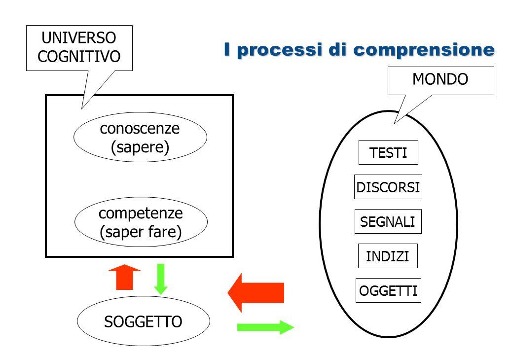 I processi di comprensione conoscenze (sapere) competenze (saper fare) UNIVERSO COGNITIVO SOGGETTO TESTI DISCORSI SEGNALI INDIZI OGGETTI MONDO