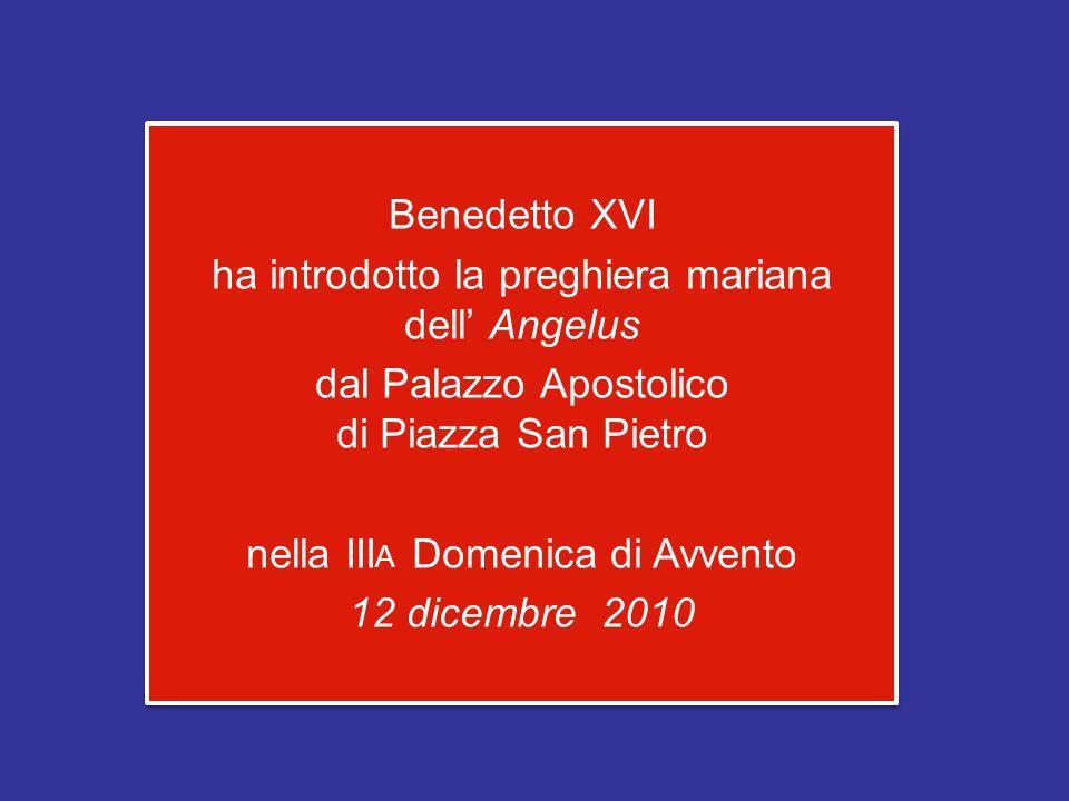Benedetto XVI ha introdotto la preghiera mariana dell' Angelus dal Palazzo Apostolico di Piazza San Pietro nella III A Domenica di Avvento 12 dicembre 2010 Benedetto XVI ha introdotto la preghiera mariana dell' Angelus dal Palazzo Apostolico di Piazza San Pietro nella III A Domenica di Avvento 12 dicembre 2010