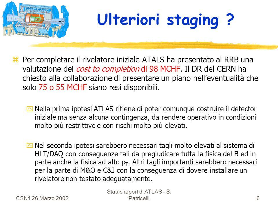 CSN1 26 Marzo 2002 Status report di ATLAS - S. Patricelli6 Ulteriori staging .