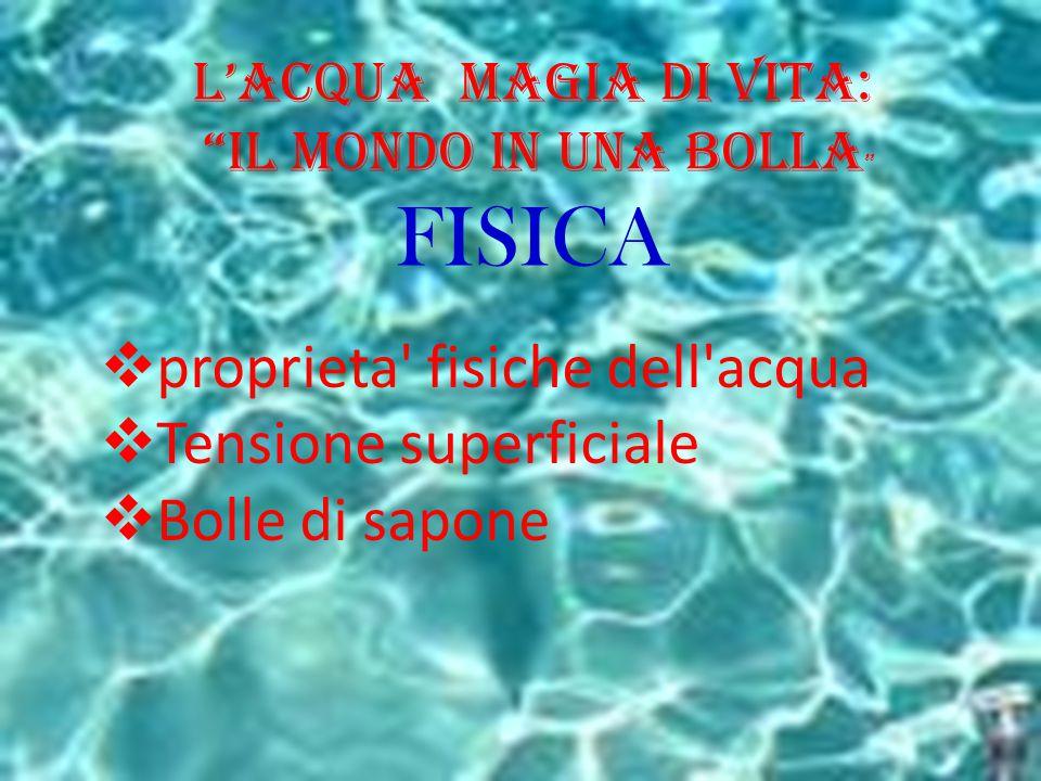 """L'Acqua Magia di Vita: """"il Mondo in una BOLLA """" FISICA  proprieta' fisiche dell'acqua  Tensione superficiale  Bolle di sapone"""