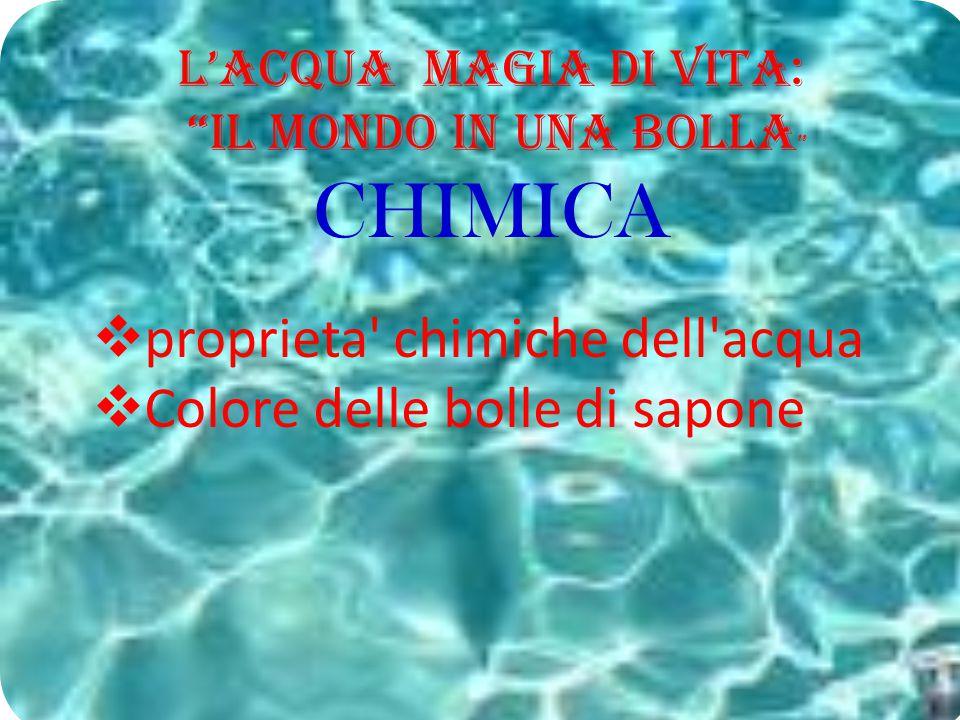 """L'Acqua Magia di Vita: """"il Mondo in una BOLLA """" CHIMICA  proprieta' chimiche dell'acqua  Colore delle bolle di sapone"""