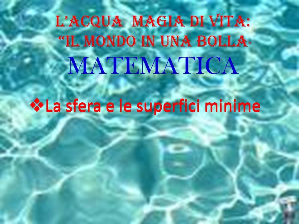 """L'Acqua Magia di Vita: """"il Mondo in una BOLLA """" MATEMATICA  La sfera e le superfici minime"""