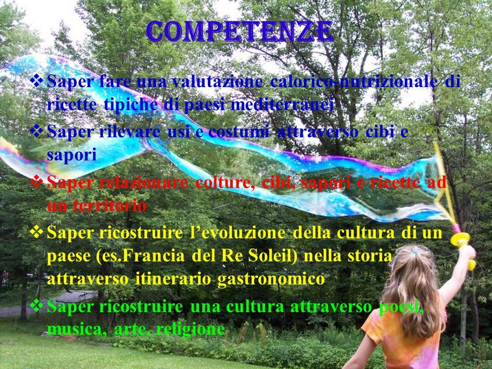 COMPETENZE  Saper fare una valutazione calorico-nutrizionale di ricette tipiche di paesi mediterranei  Saper rilevare usi e costumi attraverso cibi