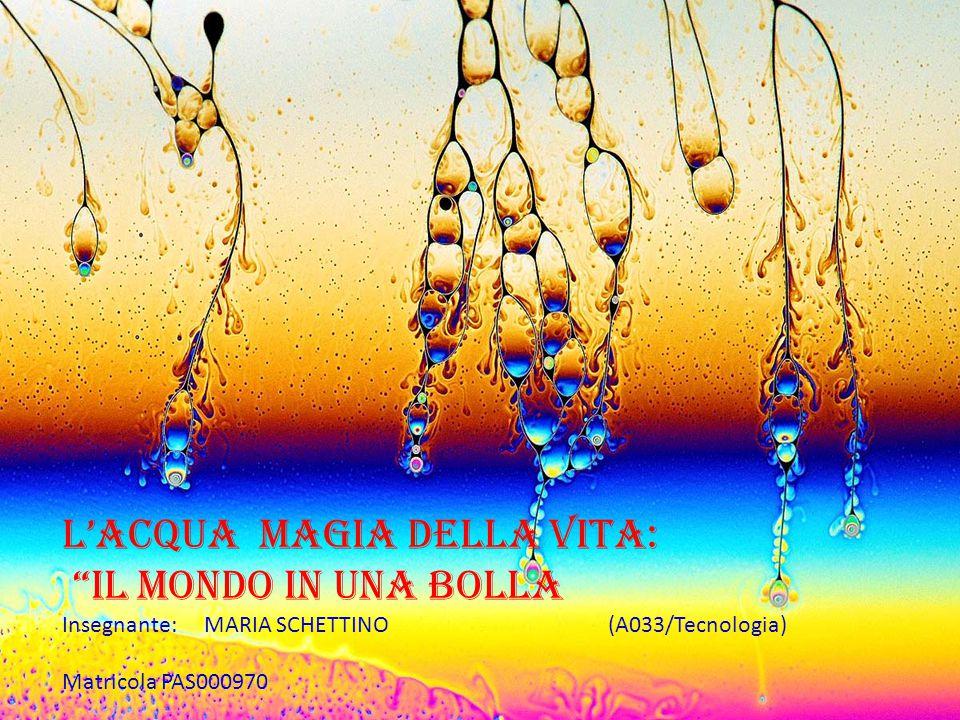 """L'Acqua Magia dELLA Vita: """"il Mondo in una BOLLA Insegnante: MARIA SCHETTINO (A033/Tecnologia) Matricola PAS000970"""