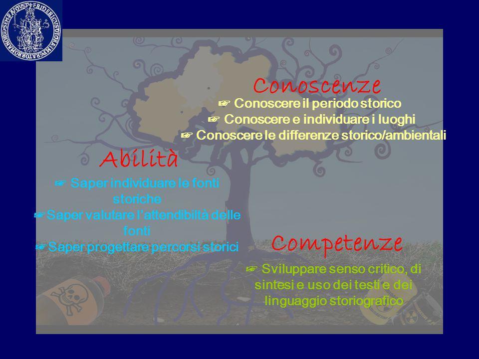 Conoscenze Abilità Competenze ☞ Conoscere il periodo storico ☞ Conoscere e individuare i luoghi ☞ Conoscere le differenze storico/ambientali ☞ Saper i