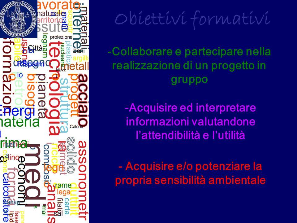 Obiettivi formativi - Acquisire e/o potenziare la propria sensibilità ambientale -Acquisire ed interpretare informazioni valutandone l'attendibilità e
