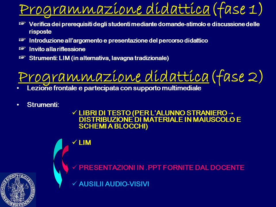 Programmazione didattica Programmazione didattica(fase 1) ☞ Verifica dei prerequisiti degli studenti mediante domande-stimolo e discussione delle risp