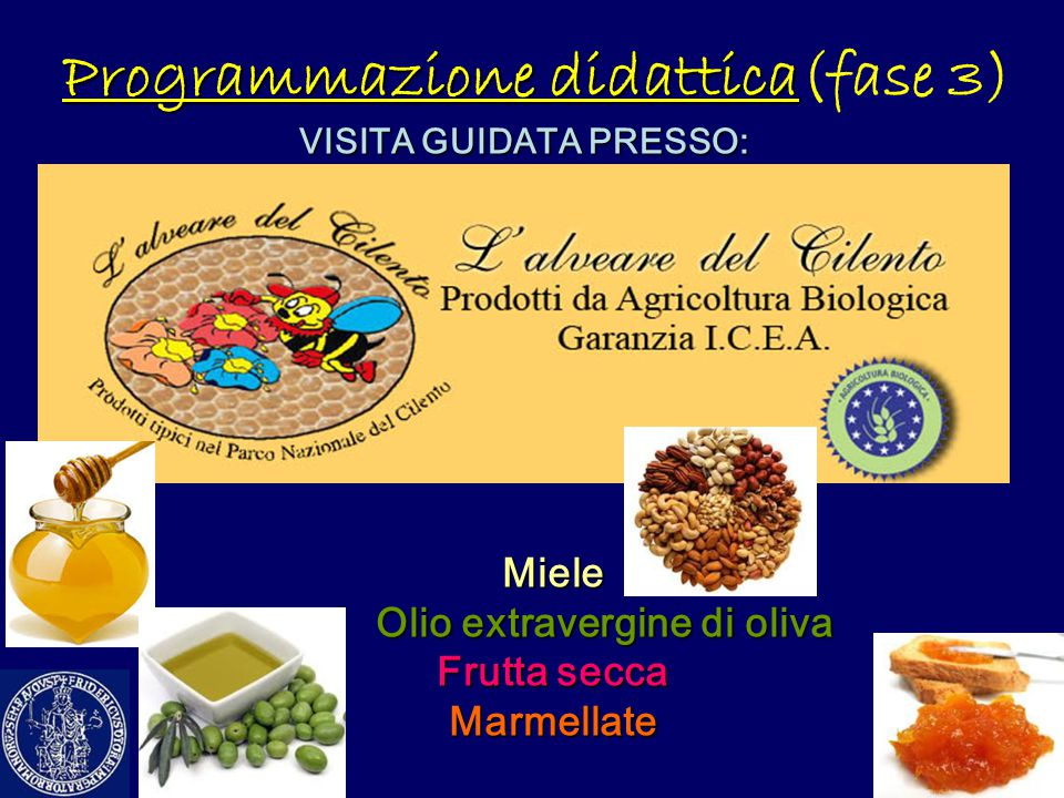 Programmazione didattica Programmazione didattica(fase 3) VISITA GUIDATA PRESSO: Miele Olio extravergine di oliva Olio extravergine di oliva Frutta se