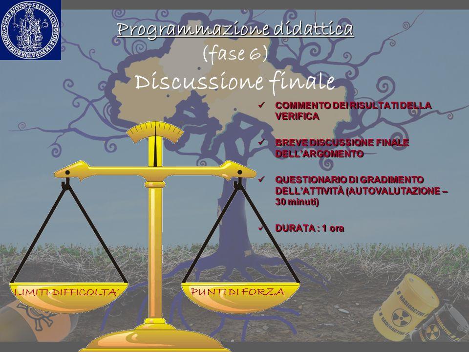Programmazione didattica Programmazione didattica (fase 6) Discussione finale COMMENTO DEI RISULTATI DELLA VERIFICA COMMENTO DEI RISULTATI DELLA VERIF