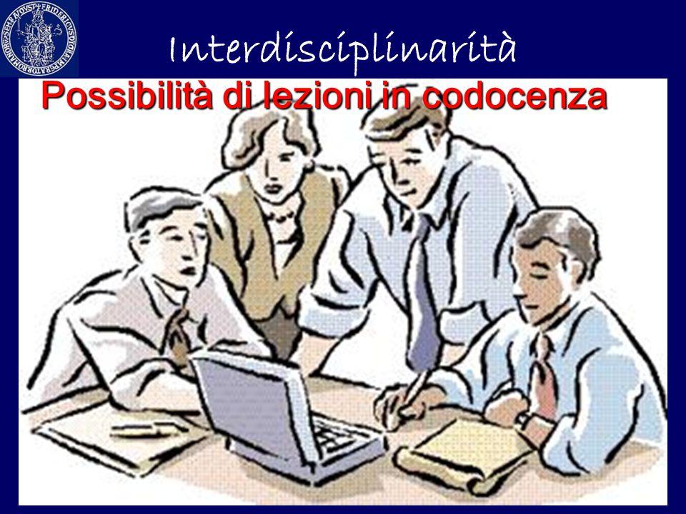 Interdisciplinarità Possibilità di lezioni in codocenza