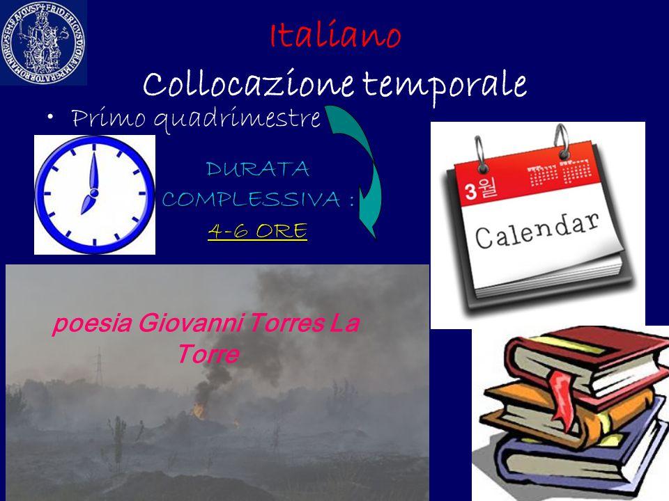 Italiano Collocazione temporale Primo quadrimestre DURATA COMPLESSIVA : 4-6 ORE poesia Giovanni Torres La Torre