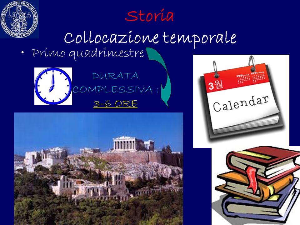 Storia Collocazione temporale Primo quadrimestre DURATA COMPLESSIVA : 3-6 ORE