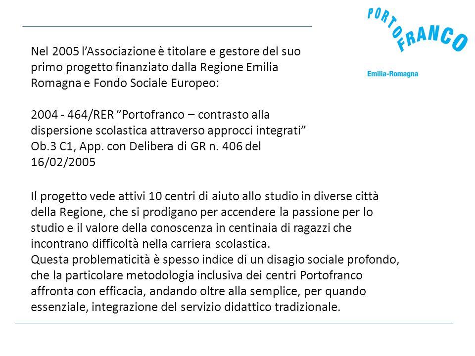 Nel 2005 l'Associazione è titolare e gestore del suo primo progetto finanziato dalla Regione Emilia Romagna e Fondo Sociale Europeo: 2004 - 464/RER Portofranco – contrasto alla dispersione scolastica attraverso approcci integrati Ob.3 C1, App.