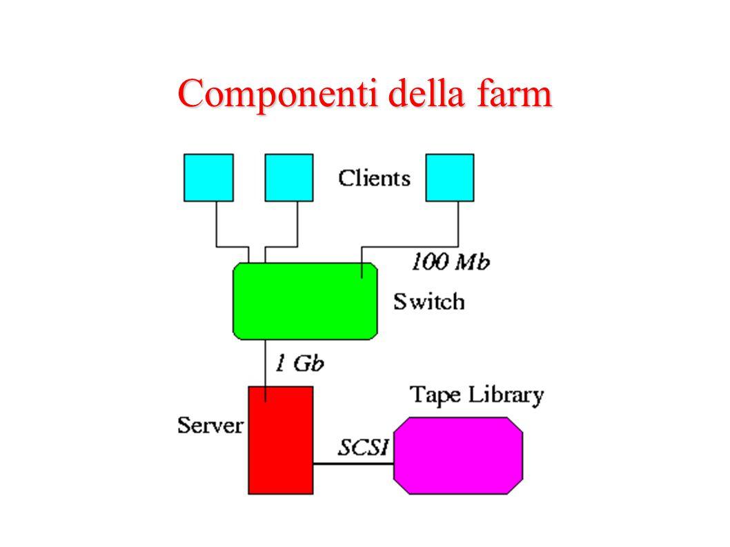 Il server Pentium III @ 800 MHz doppia CPU 512 MB RAM 20 GB disco di sistema SCSI 680 GB RAID5 disk (650 effettivi) 2 schede di rete – 100 Mbit/s per la connessione esterna (LAN di Istituto) – 1 Gbit/s (in fibra ottica) per la rete interna