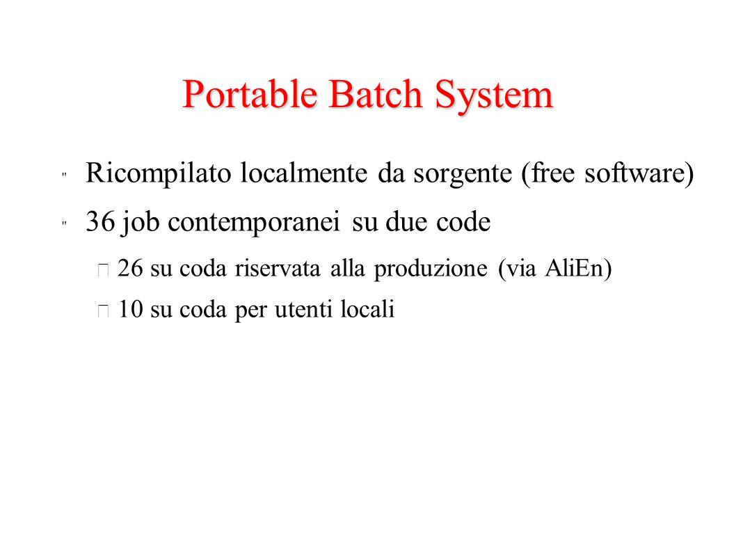 Portable Batch System Ricompilato localmente da sorgente (free software) 36 job contemporanei su due code – 26 su coda riservata alla produzione (via AliEn) – 10 su coda per utenti locali