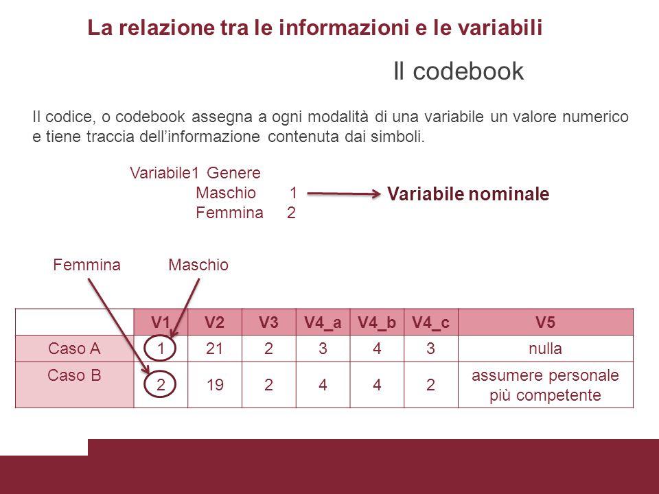La relazione tra le informazioni e le variabili V1V2V3V4_aV4_bV4_cV5 Caso A1212343nulla Caso B 2192442 assumere personale più competente Il codice, o