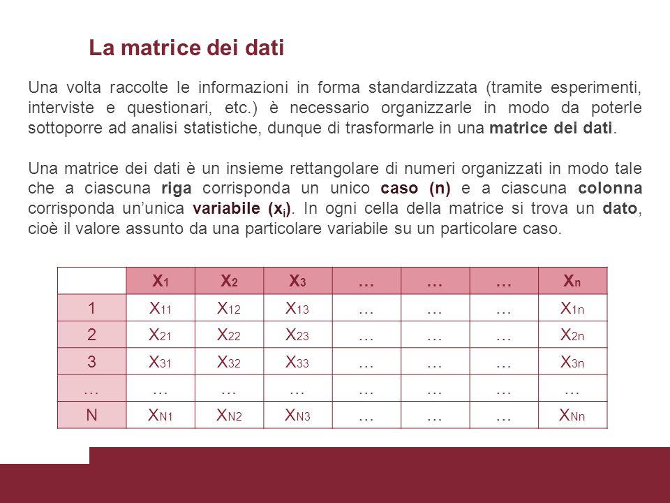 La matrice dei dati Perché le informazioni possano essere inserite in una matrice dei dati: a)le unità di analisi devono essere sempre le stesse (cioè le informazioni devono essere riferite tutte a individui, o comuni, o scuole, ecc..
