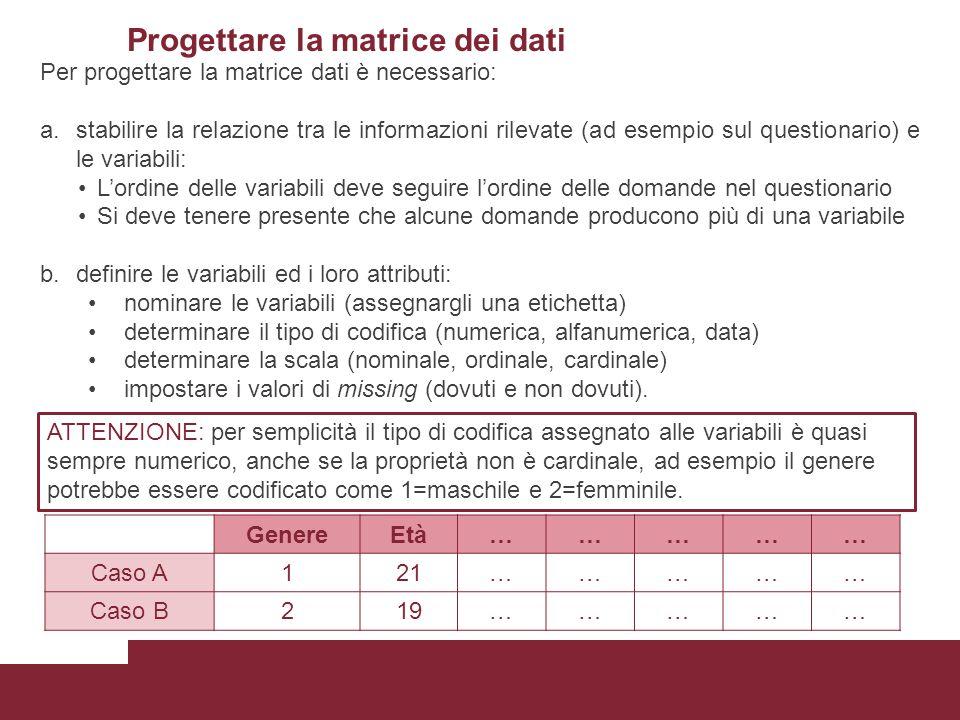 Progettare la matrice dei dati Per progettare la matrice dati è necessario: a.stabilire la relazione tra le informazioni rilevate (ad esempio sul ques