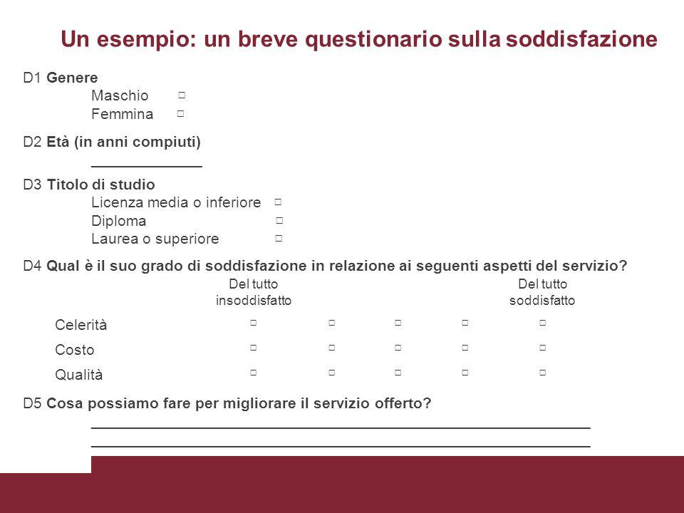 Un esempio: un breve questionario sulla soddisfazione D1 Genere Maschio □ Femmina □ D2 Età (in anni compiuti) _____________ D3 Titolo di studio Licenz