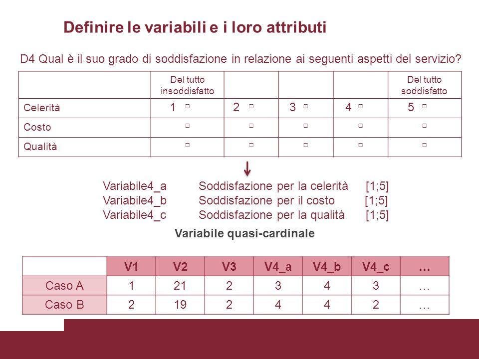 Definire le variabili e i loro attributi D4 Qual è il suo grado di soddisfazione in relazione ai seguenti aspetti del servizio? Del tutto insoddisfatt