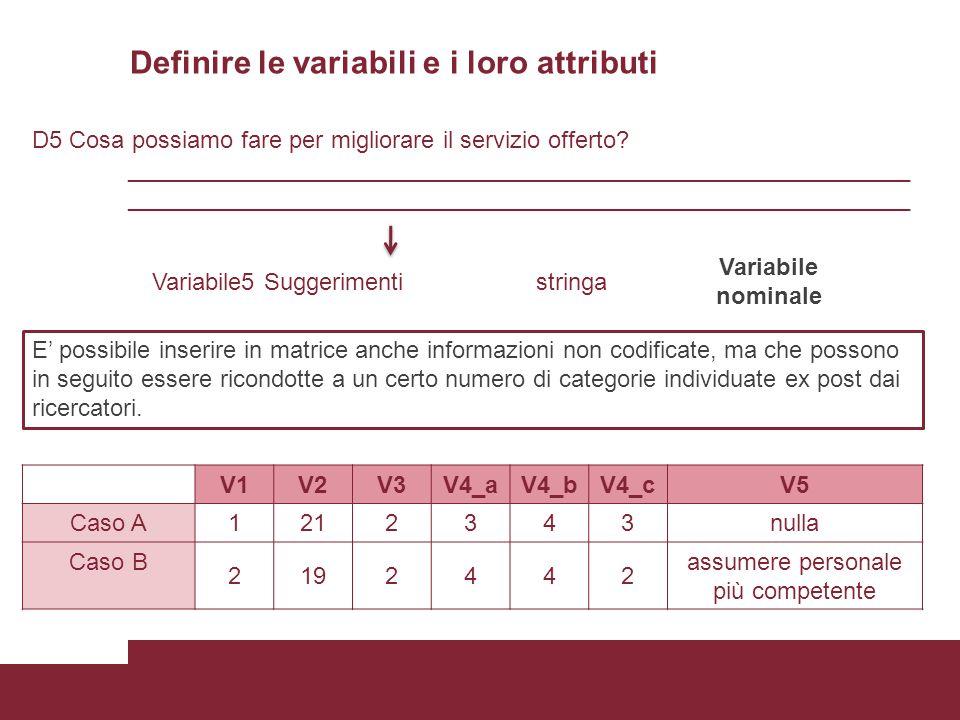 Definire le variabili e i loro attributi D5 Cosa possiamo fare per migliorare il servizio offerto? ___________________________________________________