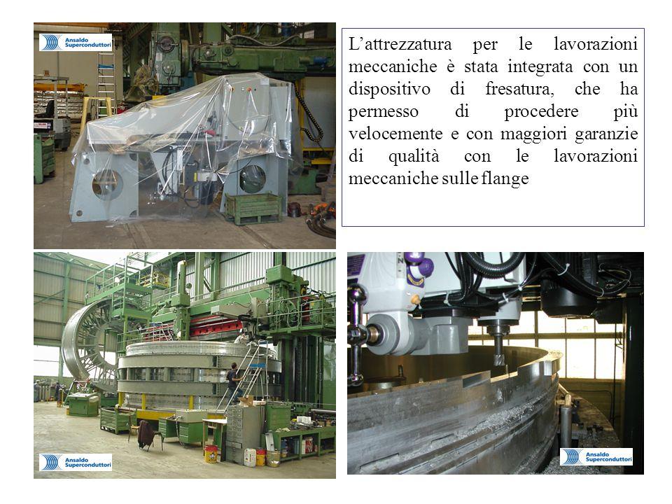 L'attrezzatura per le lavorazioni meccaniche è stata integrata con un dispositivo di fresatura, che ha permesso di procedere più velocemente e con maggiori garanzie di qualità con le lavorazioni meccaniche sulle flange