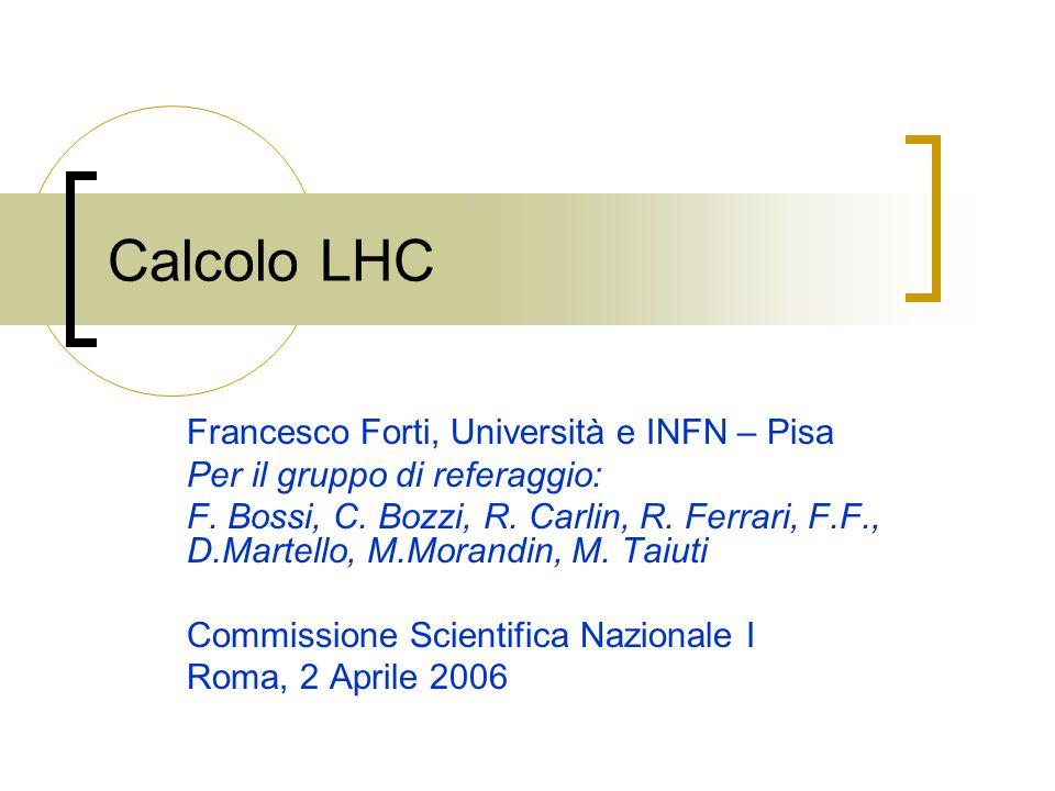 Calcolo LHC Francesco Forti, Università e INFN – Pisa Per il gruppo di referaggio: F. Bossi, C. Bozzi, R. Carlin, R. Ferrari, F.F., D.Martello, M.Mora
