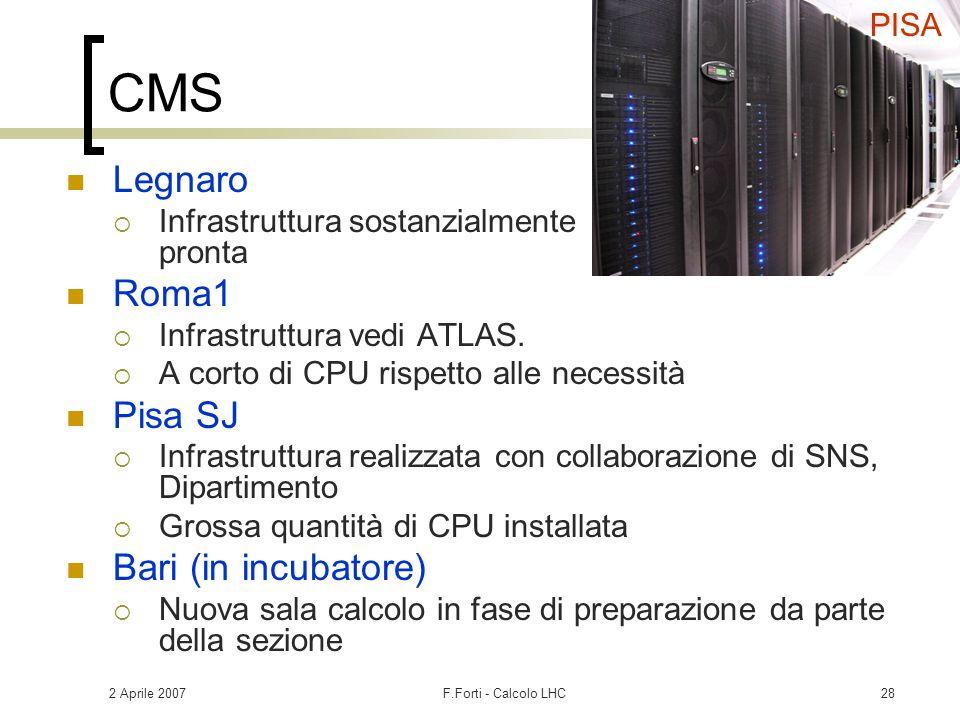 2 Aprile 2007F.Forti - Calcolo LHC28 CMS Legnaro  Infrastruttura sostanzialmente pronta Roma1  Infrastruttura vedi ATLAS.  A corto di CPU rispetto