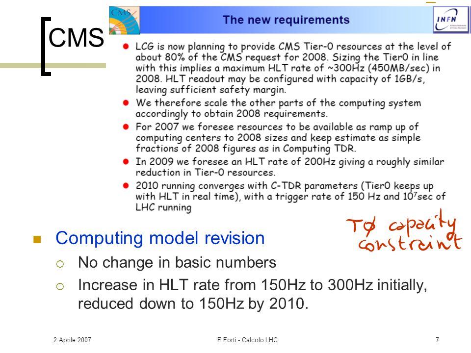 2 Aprile 2007F.Forti - Calcolo LHC28 CMS Legnaro  Infrastruttura sostanzialmente pronta Roma1  Infrastruttura vedi ATLAS.