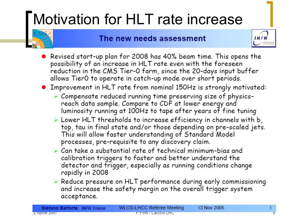 2 Aprile 2007F.Forti - Calcolo LHC29 Richieste CMS per 2007