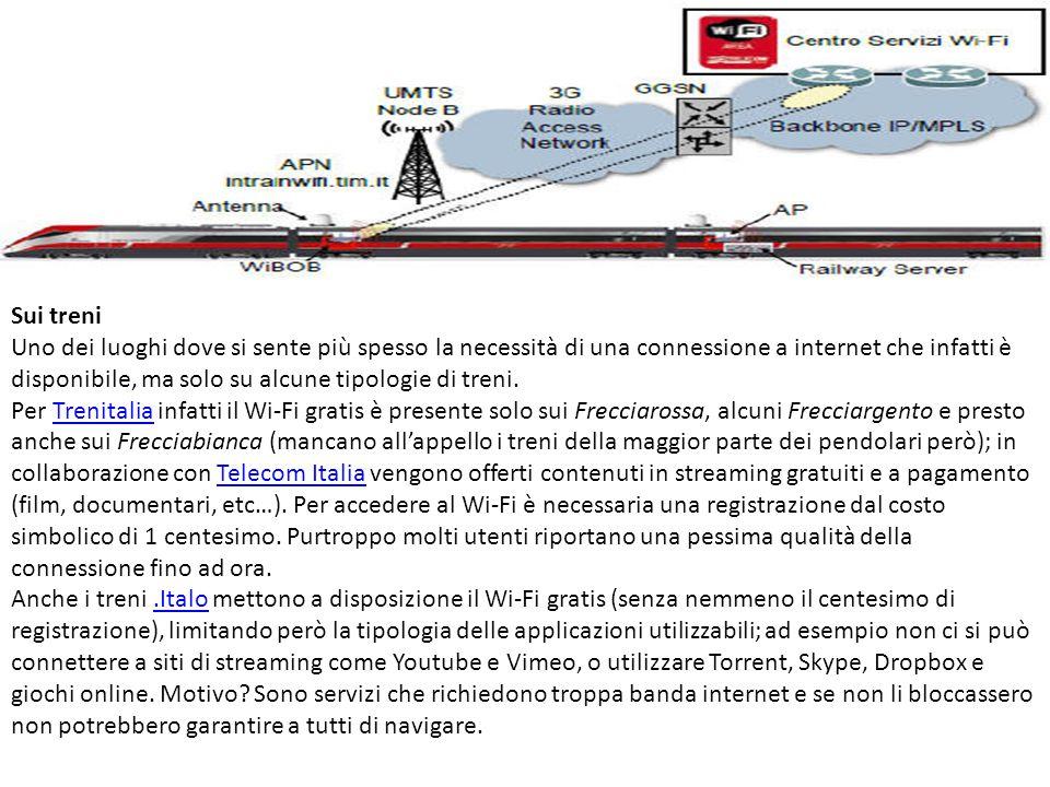 Sui treni Uno dei luoghi dove si sente più spesso la necessità di una connessione a internet che infatti è disponibile, ma solo su alcune tipologie di treni.