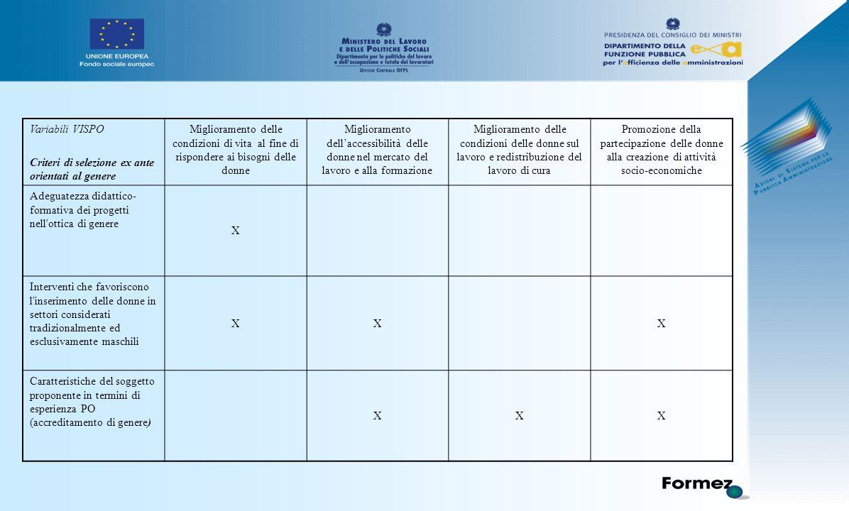 Variabili VISPO Criteri di selezione ex ante orientati al genere Miglioramento delle condizioni di vita al fine di rispondere ai bisogni delle donne Miglioramento dell'accessibilità delle donne nel mercato del lavoro e alla formazione Miglioramento delle condizioni delle donne sul lavoro e redistribuzione del lavoro di cura Promozione della partecipazione delle donne alla creazione di attività socio-economiche Adeguatezza didattico- formativa dei progetti nell ottica di genere X Interventi che favoriscono l inserimento delle donne in settori considerati tradizionalmente ed esclusivamente maschili XXX Caratteristiche del soggetto proponente in termini di esperienza PO (accreditamento di genere) XXX