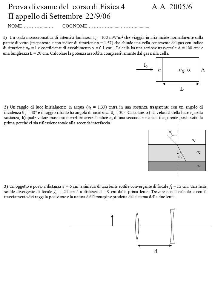 Prova di esame del corso di Fisica 4 A.A. 2005/6 II appello di Settembre 22/9/06 NOME………….....….