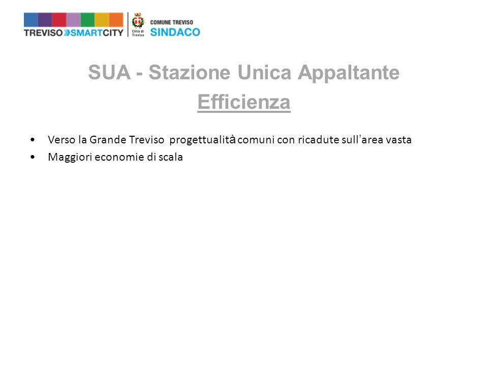 SUA - Stazione Unica Appaltante Efficienza Verso la Grande Treviso progettualit à comuni con ricadute sull ' area vasta Maggiori economie di scala