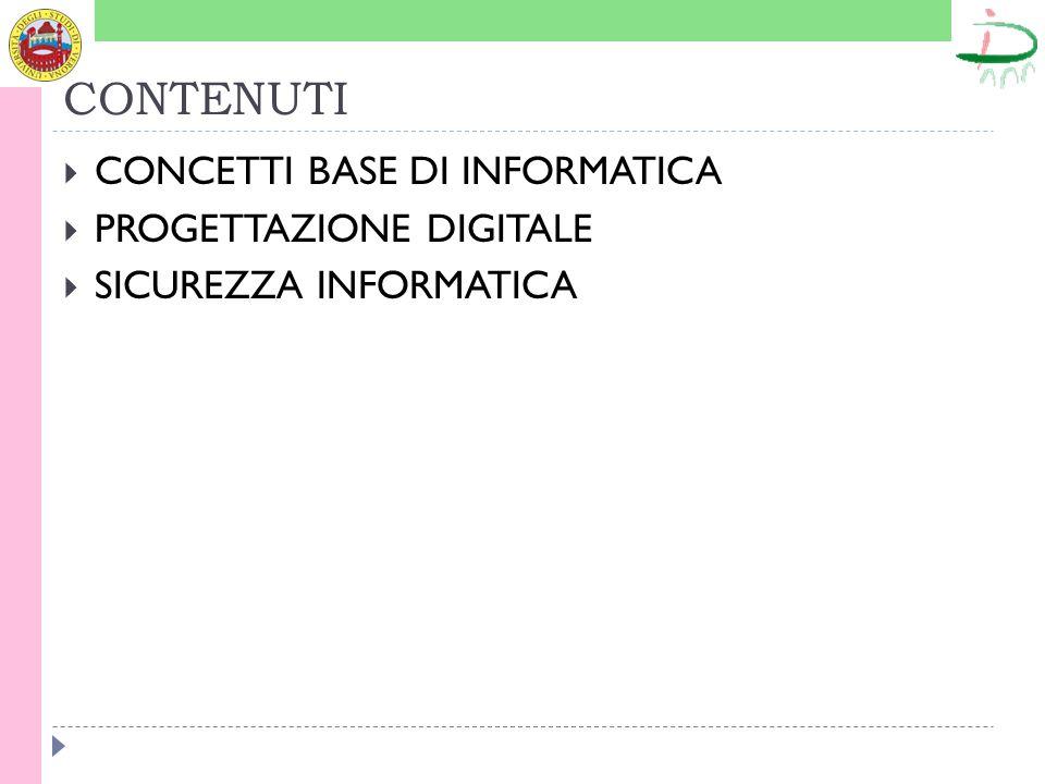 CONTENUTI  CONCETTI BASE DI INFORMATICA  PROGETTAZIONE DIGITALE  SICUREZZA INFORMATICA