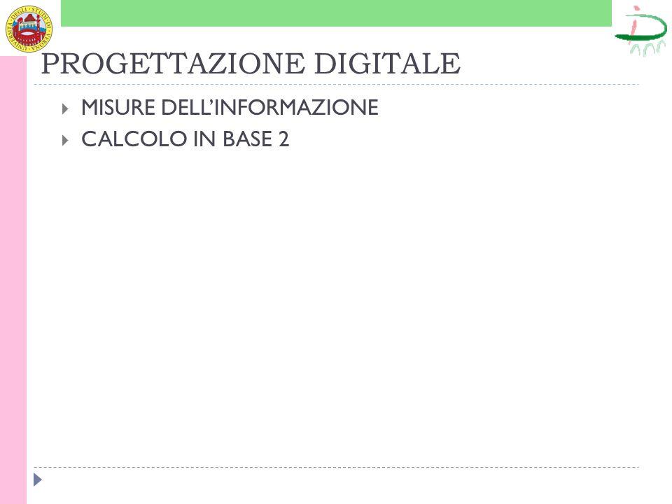 PROGETTAZIONE DIGITALE  MISURE DELL'INFORMAZIONE  CALCOLO IN BASE 2
