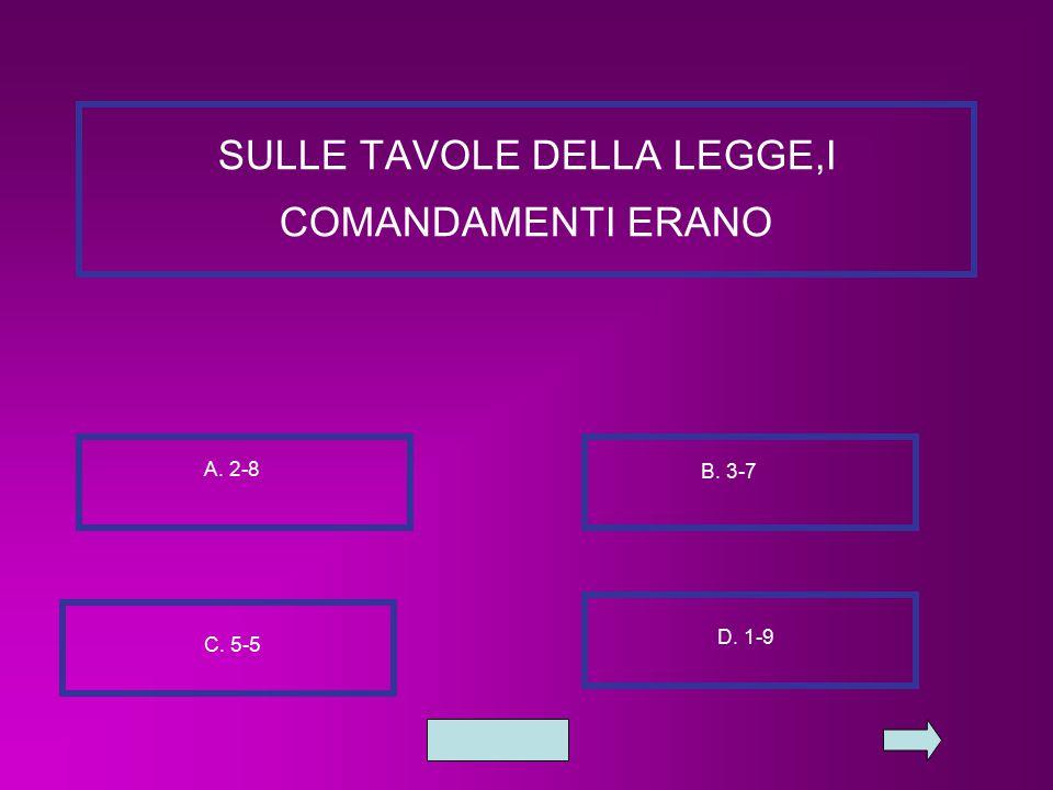 SULLE TAVOLE DELLA LEGGE,I COMANDAMENTI ERANO A. 2-8 B. 3-7 C. 5-5 D. 1-9
