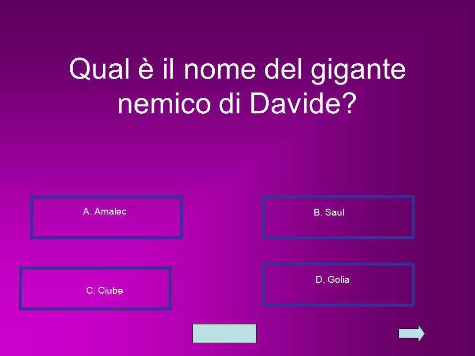 Qual è il nome del gigante nemico di Davide? A. Amalec B. Saul C. Ciube D. Golia