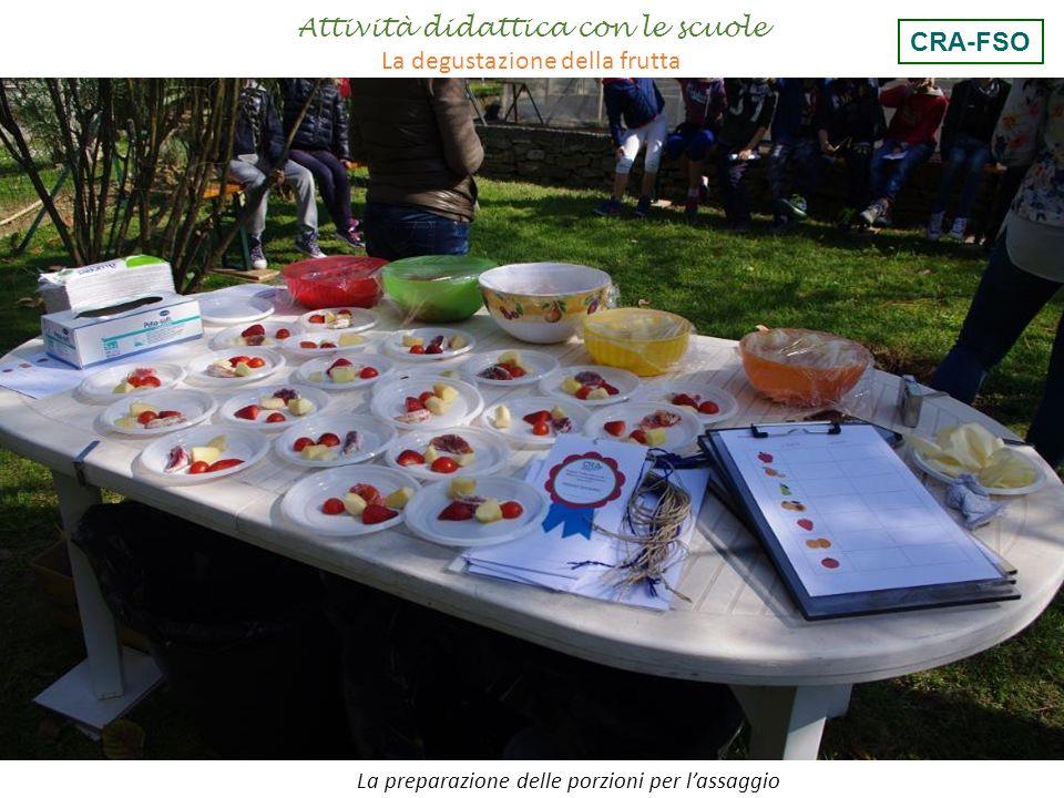Attività didattica con le scuole La degustazione della frutta La preparazione delle porzioni per l'assaggio CRA-FSO