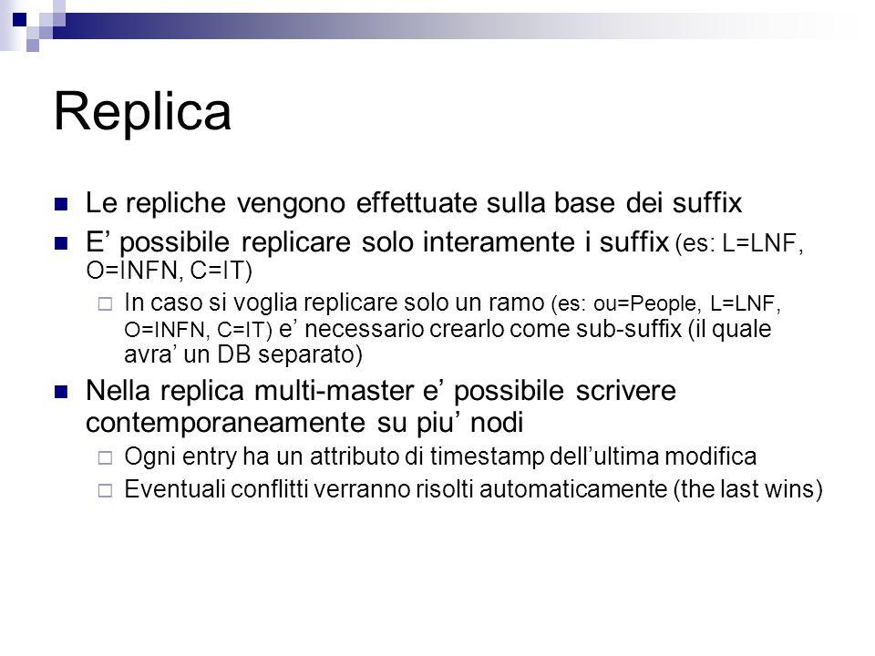 Replica Le repliche vengono effettuate sulla base dei suffix E' possibile replicare solo interamente i suffix (es: L=LNF, O=INFN, C=IT)  In caso si v