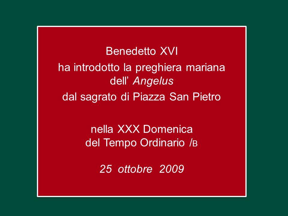 Benedetto XVI ha introdotto la preghiera mariana dell' Angelus dal sagrato di Piazza San Pietro nella XXX Domenica del Tempo Ordinario / B 25 ottobre 2009 Benedetto XVI ha introdotto la preghiera mariana dell' Angelus dal sagrato di Piazza San Pietro nella XXX Domenica del Tempo Ordinario / B 25 ottobre 2009