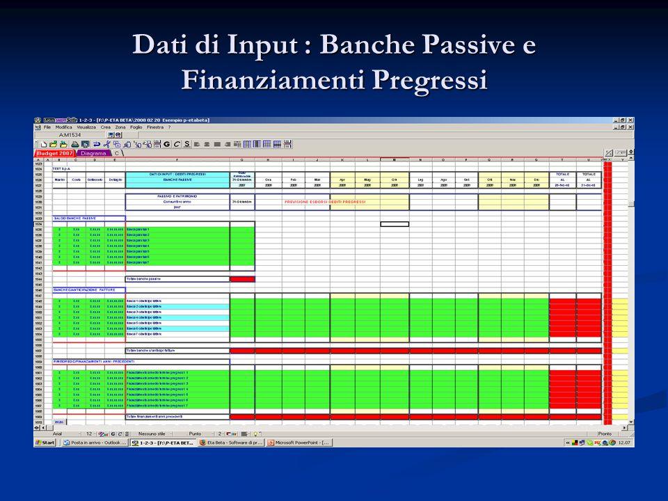 Dati di Input : Banche Passive e Finanziamenti Pregressi