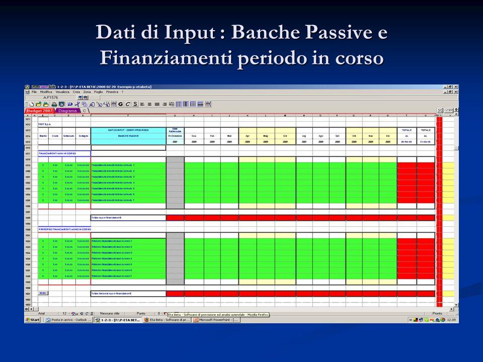 Dati di Input : Banche Passive e Finanziamenti periodo in corso