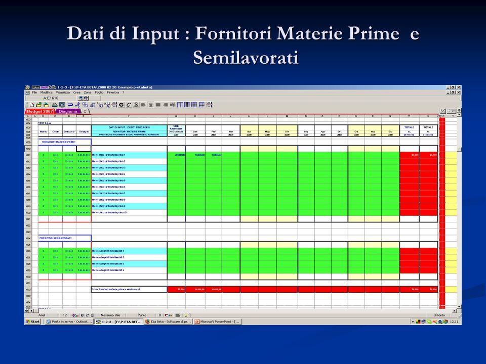 Dati di Input : Fornitori Materie Prime e Semilavorati