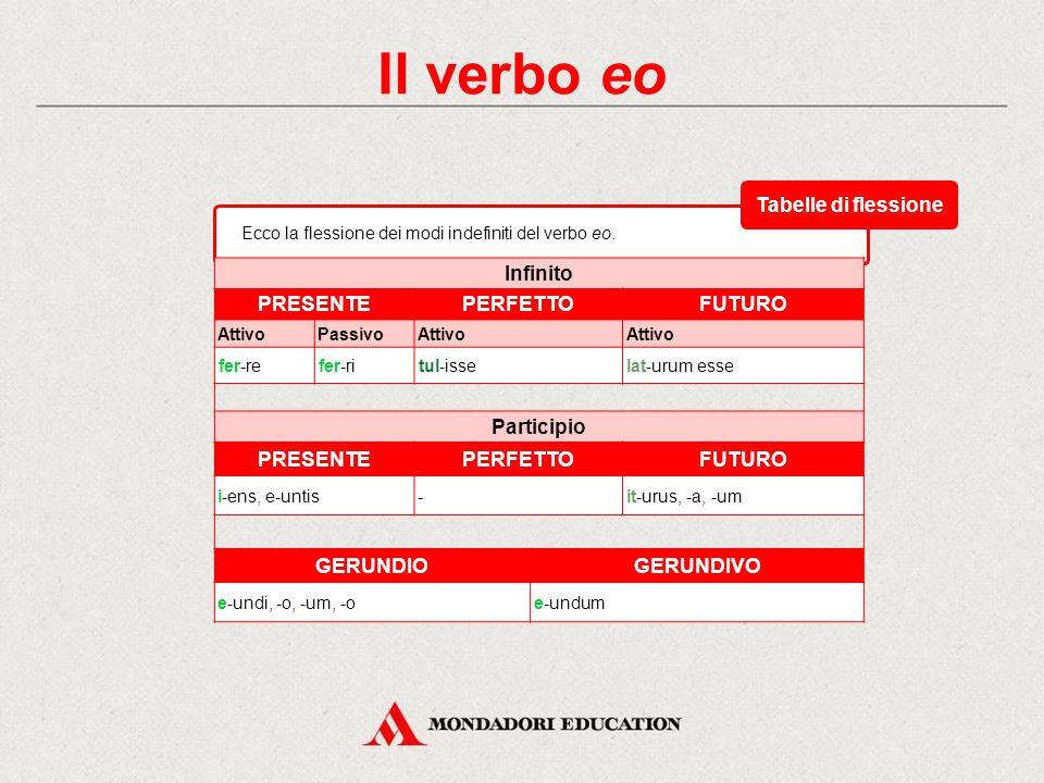 Il verbo eo Ecco la flessione del congiuntivo e dell'imperativo del verbo eo. CongiuntivoImperativo PRESENTEIMPERFETTOPRESENTE 1 a sing. e-ami-rem- 2