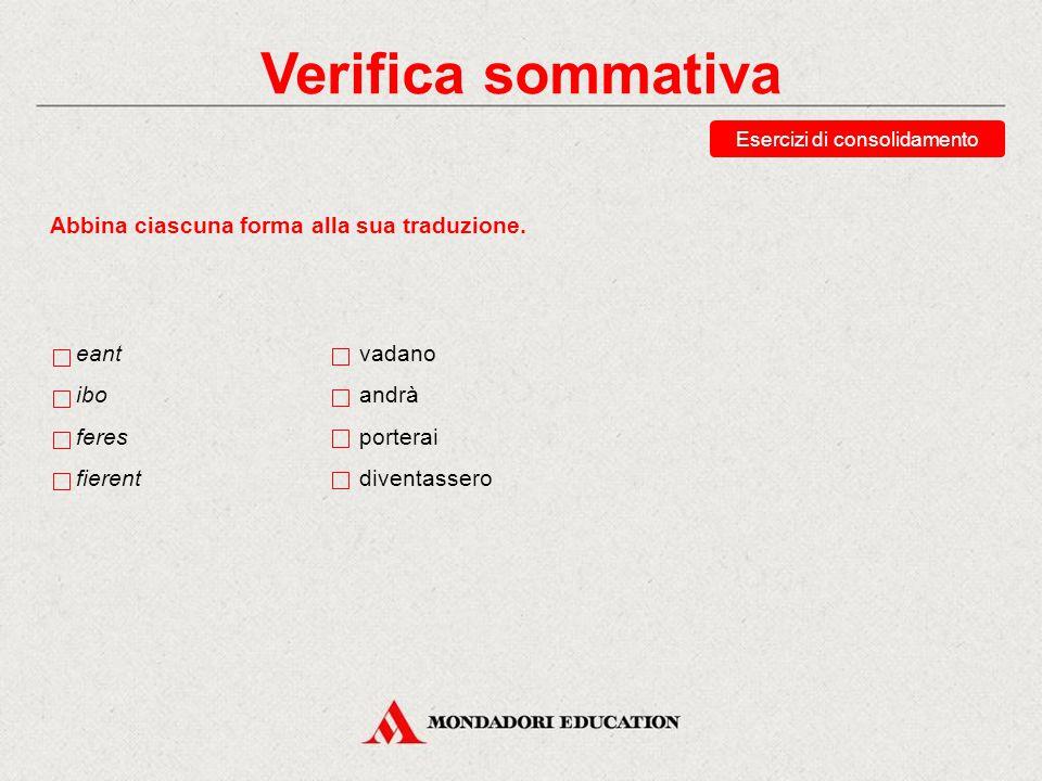 Verifica sommativa Esercizi di consolidamento Abbina ciascuna forma alla sua analisi. I sg. indicativo futuro I sg. congiuntivo presente I sg. indicat